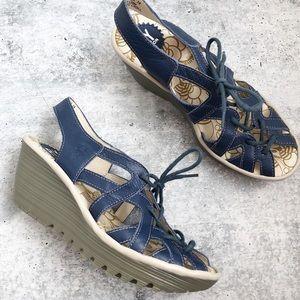 Fly London Navy Yapi Lace Up Wedge Sandals